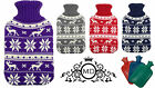 Hot Water Bottles With Knitted Reindeer Snow Design Covers In Four Colours