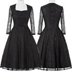 New Black Women Ladies Vintage Lace Evening Formal Cocktail Party Mini Dress Top