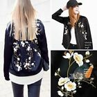 Oriental FLORAL EMBROIDERED BOMBER JACKET Womens Embroidery Satin Baseball Coat