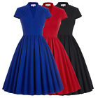 Women's 50s 60s Vintage Swing Dresses V-Neck High Stretchy Party Pagesant Dress