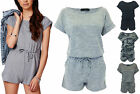 New Womens Ladies Melange Marl Loungewear Playsuit All In One Tops Shorts 8-14