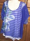 NEW One World Painted Foral Overlay Top Vacation Holiday Shirt - Choice 1X 2X 3X