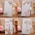 New 3D bling crystal luxury FLIP WALLET LEATHER CASE COVER stand F i phone 4 4s