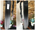 Dip Dye Ombre Wrap Around Ponytail Clip in Hair Extensions Black Grey