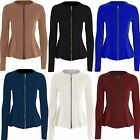 Womens Ladies Plus Size Peplum Blazer Plain Jacket Coat Tailored Long Sleeve Zip