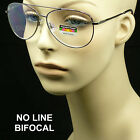 Reading glasses no line progressive clear lens new bifocal metal aviator spring