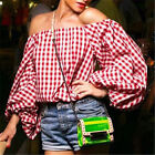 Women Sexy Off Shoulder Puff Sleeve Red Plaid Blouse Ladies Casual Loose Tops K
