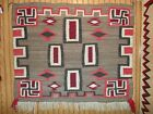 Early NAVAJO NAVAHO Indian Rug Blanket...Whirling Logs Squash Blossoms..NoRes