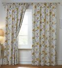 Alexis Lily Floral Pencil Pleat Thermal Blackout Eyelet Curtains, Lemon Grey
