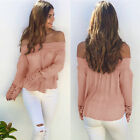 Autumn Sexy Off Shoulder Long Sleeve Tops Women Ladies Lace Crochet Shirt Blouse