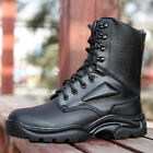 Men's Field Operations Camo Cadet Black Faux Leather Army Boots Military Shoes