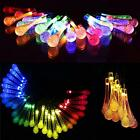 20/30LED Water Drop Fairy Waterproof Lights Solar Powered Colorful String Lights