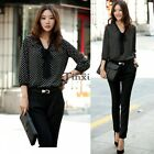 Women Bowknot Neck Polka Dots Long Sleeve Chiffon Blouse Shirt Loose Tops TXCL