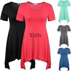 Women Fashion Short Sleeve O-Neck Casual Irregular Hem Long T-Shirt Blouse TXCL