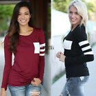 Women Summer Long Sleeve Round Neck Striped Slim T-Shirt Shirt Tee Blouse Tops