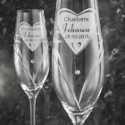 NEW PERSONALISED HAND CUT HEART FLUTES PICK FROM 3 DESIGNS SWAROVSKI ELEMENTS