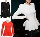 2016 Womens Puff Long sleeves Fitted Peplum Blouse Tops T-shirt,Mini Dress