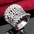 Men&women's 925 Sterling Silver Amazing See-through 21mm wide Carved Ring E851