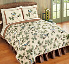 Birds in Pine Forest Bedding Set Shams Quilt King Queen Full Twin Bed Cover New
