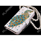 Colorful Bling Diamond Crystal Peacock PU Leather Flip Wallet Cards Case Cover