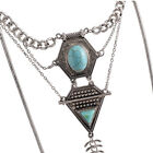 Women Retro Antique Gold Silver Bib Turquoise Pendant Chain Ethnic Necklace