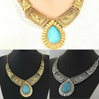 Women's Girl Gold/Siver Plated Jewelry Pendant Chain Turquoise Pattern Necklace