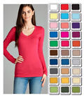 Внешний вид - Womens T Shirt V Neck Long Sleeve Cotton Active Basic Layering Size S,M,L USA