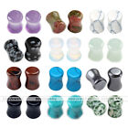 12Pairs Crystal Hematite Obsidian Stone Saddle Flared Ear Tunnel Plugs Stretcher