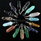 Natural Gemstones Hexagonal Pointed Reiki Chakra Healing Bead Pendant Wire Wrap
