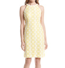 NINE WEST® 8, 10 Yellow & White Beaded Floral Daisy Lace Dress NWT