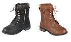 Внешний вид - Baby Toddler And Youth Girls Leather P/U Combat Boots Lace Up Fall Winter Shoes