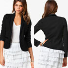 Hot Womens Ladies Long Seeve Small Suit Casual Jacket Coat Button Pocket 3 color