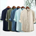 Men's T-Shirt Tunic Tang Casual Summer Kung Fu 3/4 Sleeve Linen Coat Tops AE
