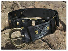 Black Leather Belt and Buckle Handmade Medieval Style