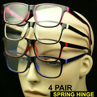 4 PAIR PACK LOT READING GLASSES SPRING HINGE ARM POWER LENS NEW MEN WOMEN