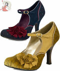 RUBY SHOO ASHLEY vintage style SHOES london heels NAVY BLUE OCHRE YELLOW