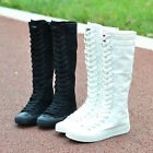 Women Lady Canvas Sneaker Causal Knee High Boots Lace Up Low Heel Size New