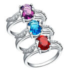 Ladies 925 Sterling Silver Purple/Blue/Red Crystal 6mm Split Ring Size 7 Jewelry