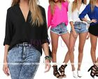Fashion Womens European Casual Chiffon V-neck Long Sleeve T-Shirt Blouse,Rare