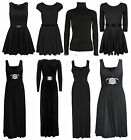 Ladies Womens Halloween Black Swing Diamante Maxi Dress Gown Skater Top 8-26