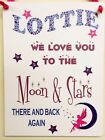 PERSONALISED Girl Children Door Name Sign Wall Plaque Fairy Moon & Back free P&P