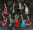 Girls night out clip on enamel charms - clothes, dress, lipstick, swimsuit, shoe