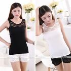 Women Black White Sleeveless Slim Lace Casual Tank Tops Vest Blouse One Size