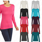 Womens Long Sleeve Basic Round Neck Stretch Short Top T-Shirt Plus Size 14-28
