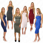 New Womens Sleeveless Strappy Floral Lace Bodycon Midi Dress 8-14 Padded Bustier