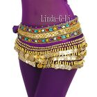 Belly Dance Hip Scarf Skirt Wrap Gold Coins Band Gemstone Velvet 6 colors 9 3