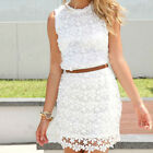 Western Women Evening short Lace Dress Summer Casual Sleeveless Party Skirt FM