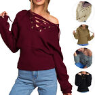 Women Fashion Stylish Lace up Loose Knitted Sexy V Neck Sweater  Tops Knitwear