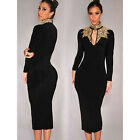 Women Slim Fit Mock Neck Peep Hole Golden Sequins Office Working Pencil Dresses