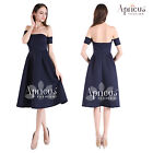 Womens Retro 1950s Off Shoulder Evening Bridesmaid Party Navy Sexy Swing Dress